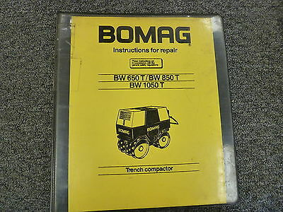 Bomag Bw650t Bw850t Bw1050t Trench Compactor Shop Service Repair Manual Book