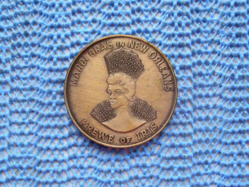 1969 Krewe of IRIS antique bronze Queen Mardi Gras doubloon