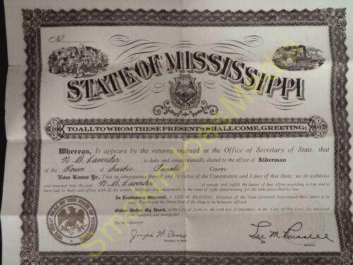 Vintage State of Mississippi N.B. Lavender Certificate Alderman 1911