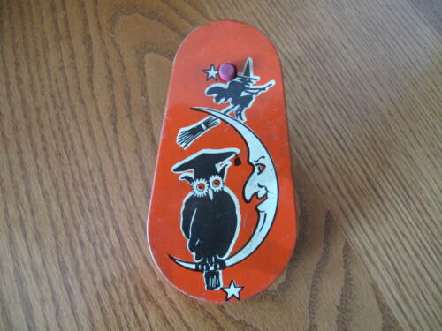 Vintage Halloween Tin Litho Noisemaker Flying Witch Crescent Moon Face Owl