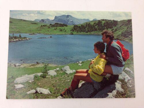 Vintage Postcard Hiking Hikers Couple Girl Shorts Sunshine Village Banff Alberta