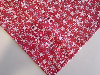 Dog Bandana/Scarf, Christmas, Red, Snowflakes, Custom Made by Linda, XS S M L xL
