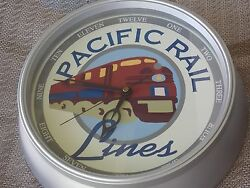 Pacific Rail Lines Wall Clock 11 Round, Railroad Decor, Battery Operated