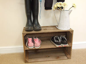 SHABBY CHIC WOODEN SHOE RACK, RUSTIC VINTAGE SHOE OR DISPLAY SHELF APPLE CRATE