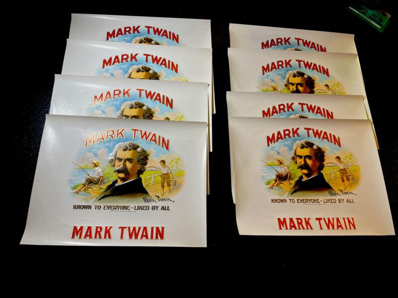 (8) ORIGINAL Unused MARK TWAIN Cigar Label Lot - Tobacco Advertising