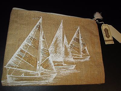 Aweigh We Go Jute Carry-All Case by Mud Pie, Sailboat Design, NWT