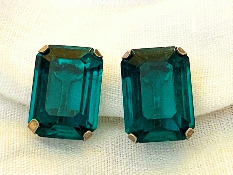 Vintage Antique Art Deco Sterling Emerald Crystal Paste Glass Open Back Earrings