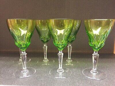 6 verres à vin en cristal Mod GOETHE taillés vert. H:  142 mm Val Saint Lambert