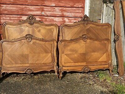 Antique Pair French Louis XV Beds Stunning