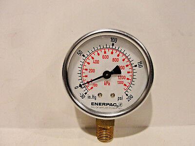 Enerpac Pressure Gauge Dual -30 0-200 Psi -100 0-1300 Kpa Bottom Mount