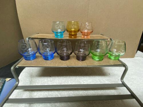 Multicolor VTG Set of 10 Petite Etched Cordial Liqueur Shot Glasses - MINT !!