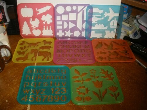 1987 Tupperware Tuppertoys Plastic Stencil Sets Animal Letters Seasons Lot of 8