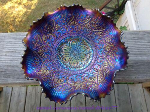 Antique NORTHWOOD Hearts & Flowers CARNIVAL Glass Bowl PURPLE Iridescent Ruffled