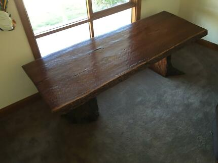 River Red Gum Dining Boardroom Table 25x095m Solid Slab Legs