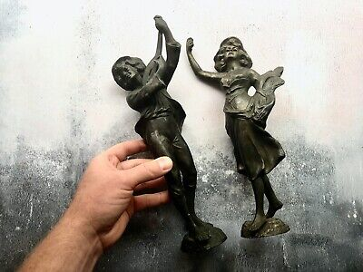 Pair of Antique Spelter Statues Figures - Lady with Corn & Musician