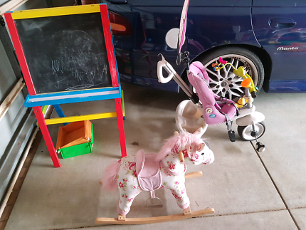 Toys art easel, rocking horse, smart trike, elmo workbench