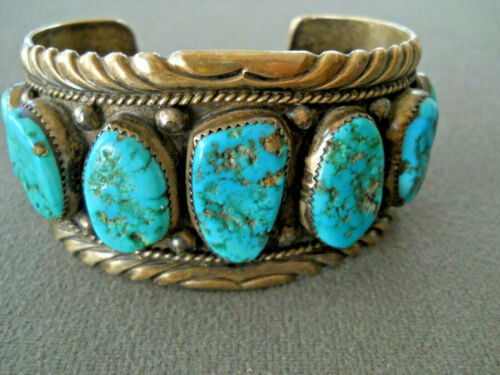 HENRY ROANHORSE Native American Turquoise Nugget Row Sterling Silver Bracelet