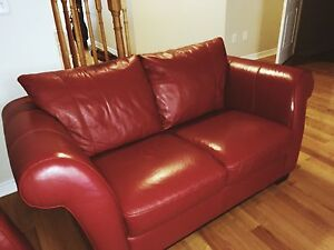 Romantic Red couch and love seat