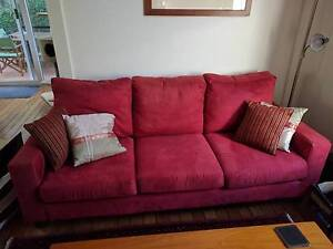 3 seater red sofa, OK condition, free! Willoughby Willoughby Area Preview
