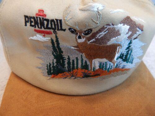 Vintage Pennzoil Baseball Hat Suede Bill Embroidered Deer Scene