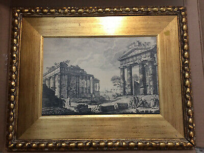 Vintage Greek Gold Frame 6th ? Century BC Dorian Temple Greek People 23 inches
