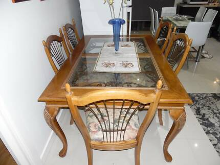 Wooden/IronTrim Glass Top Table+ 6xSilk Fabric Woodn/Iron chairs