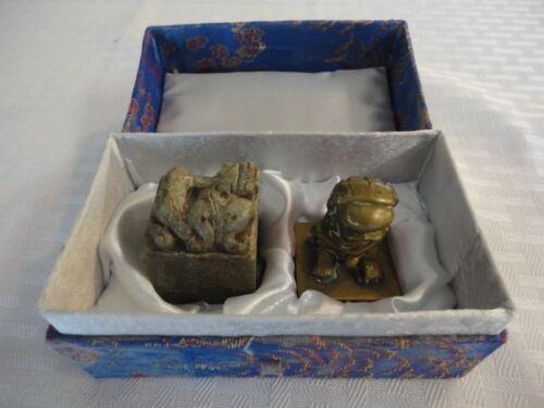 Vintage Chinese Shishi (lion/foo dog) Chop---Stone/Brass Seal Set---Estate Sale