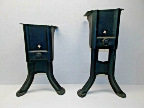 Pair Antique Adjustable Steel Metal Industrial Desk Table Base Legs