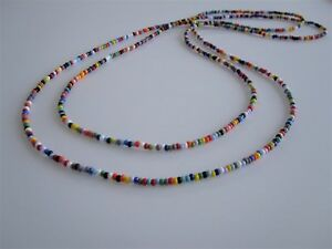 Retro Seed Bead Necklace Extra Long with High Quality Beads & Thread