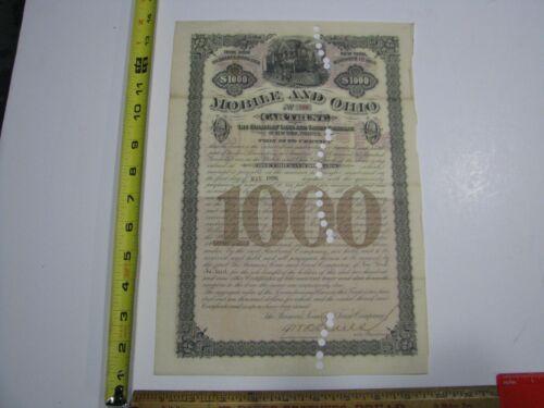 Mobile and Ohio Cartrust Car Trust $1,000 Bond 1896 Vignette Train Railroad
