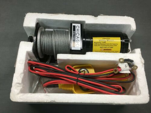 Chicago Electric Portable Winch 12 V 2000 Pound Capacity Item 90282