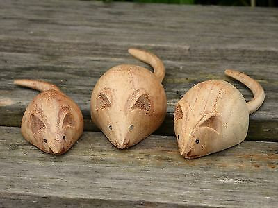 Wooden Hand Carved Mice Mouse Set Of Three 3.....