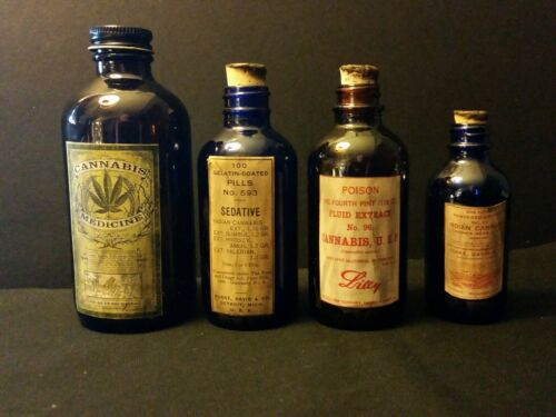 Vintage Style...4... Cannabis Medicine Bottles Handcrafted by Artist ..Nice