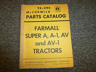 International Mccormick Farmall Super A A1 Av Av1 Tractor Parts Catalog Manual