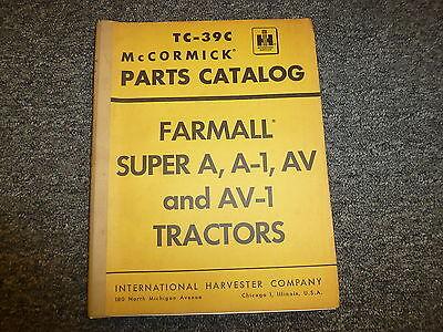 International Mccormick Farmall Super A A1 Av Av1 Tractor Parts Catalog Manual