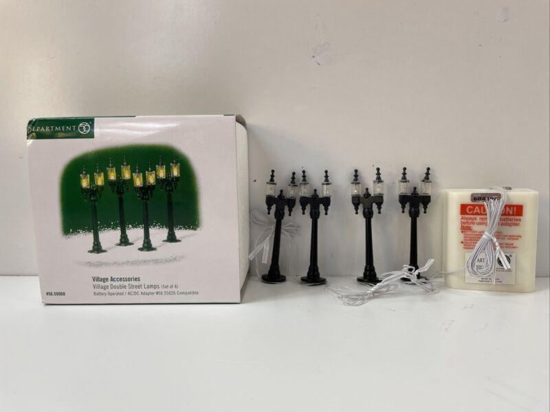 Department 56 Snow Village Double Street Lamps Accessory Figurine Set 4 56 59960