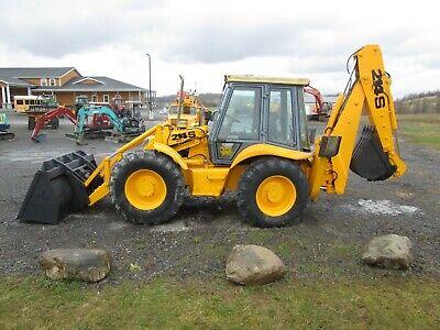 Jcb 214s Backhoe Used Diesel 4x4 Cab Heat Ext. Hoe 4 Wheel Steering Qc Bucket
