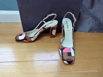 New PRADA HEELS Slingback Fabric Shoes 39 Pink Brown Black 8.5 9 w/ box Gorgeous