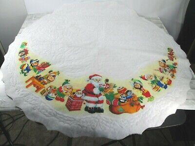 "Vtg Christmas Tree Skirt Santa Elf Workshop Felt UNCUT Rennoc 41"" Table Cloth"