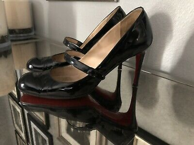 Auth. Christian Louboutin Black Patent Mary Jane Pumps Sz8(39) 3.5in Heel