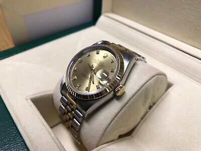 ROLEX DATEJUST 16233 18CT GOLD & DIAMOND DIAL 36MM WITH ROLEX BOX