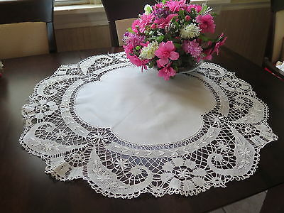 Vtg Antique Gorgeous French Linen Cluny Lace Tablecloth Round Centerpiece Topper