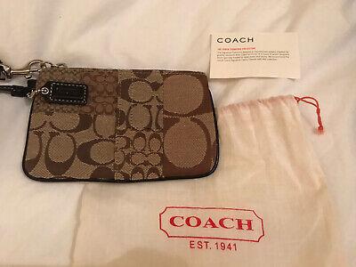 Coach Signature Logo Brown Wristlet Handbag