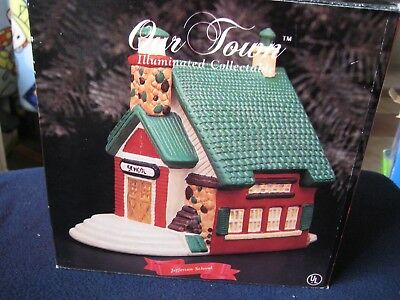 Christmas Village Porcelain ~ Jefferson School ~House A Santa's Best