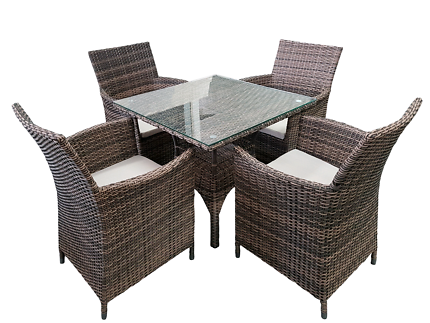 Outdoor Furniture Setting, Wicker Table & 4 Chairs