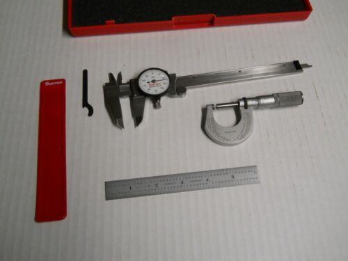 "Starrett  Basic Precision Measuring Tool Set (caliper, mic. 6"" rule)  used"