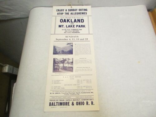 1938 Oakland & Mt. Lake Park Cumberland Excursions Baltimore & Ohio RR Poster