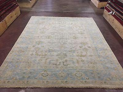 """Sale Great Deal Hand Knotted Oushak Rug  Carpet Geometric Ivory 8x10,7'9""""x9'10"""""""