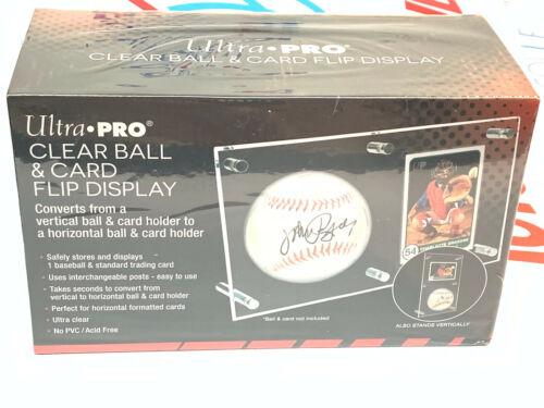 Ultra Pro Baseball Clear Ball & Card Flip Display -new Storage Holder Game Ball