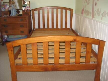 King Single Bed in Natural timber finish